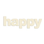 Prima - Donna Downey Collection - Fabric Stitched Paintable Words - Happy, CLEARANCE