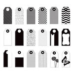 Prima - Poppies and Peonies Collection - Donna Downey - Mini Paper Tags - Black and White