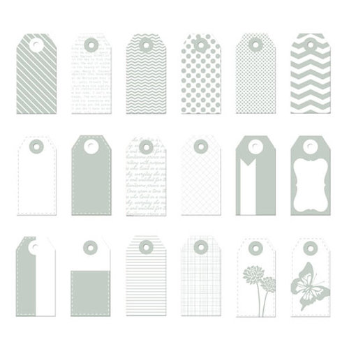 Prima - Poppies and Peonies Collection - Donna Downey - Mini Paper Tags - Grey and White
