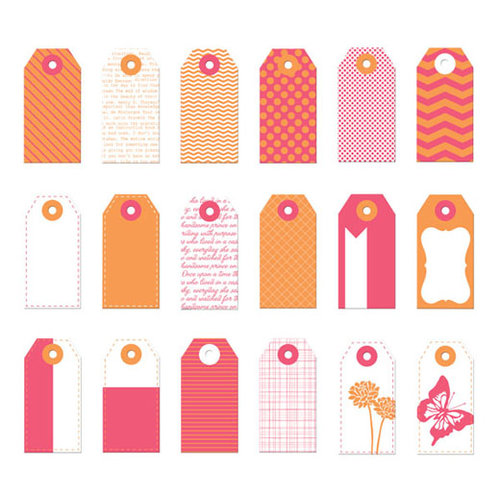 Prima - Poppies and Peonies Collection - Donna Downey - Mini Paper Tags - Pink and Orange