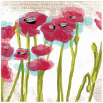 Prima - Poppies and Peonies Collection - Donna Downey - 12 x 12 Screenprinted Canvas Paper - Poppy 1