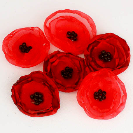 Prima - Poppies and Peonies Collection - Donna Downey - Flower Embellishments - Poppy - Mix 1