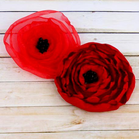 Prima - Poppies and Peonies Collection - Donna Downey - Flower Embellishments - Poppy - Mix 3
