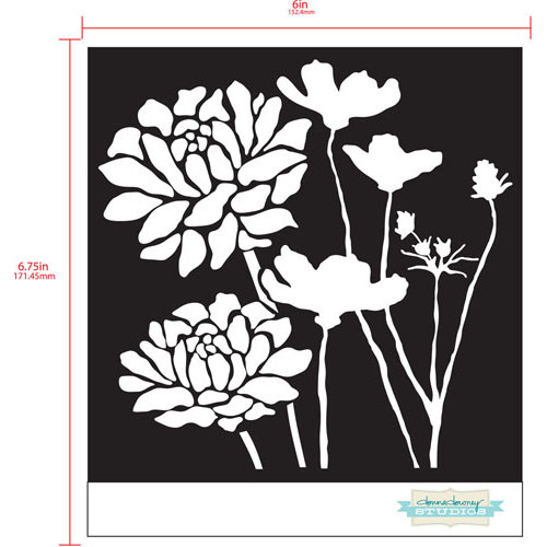 Prima - Poppies and Peonies Collection - Donna Downey - Stencils Mask Set - 12 x 12 - Mix 2