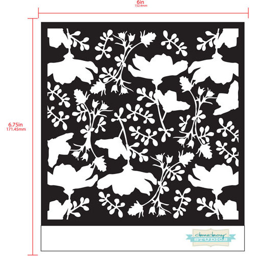 Prima - Poppies and Peonies Collection - Donna Downey - Stencils Mask Set - 12 x 12 - Mix 3