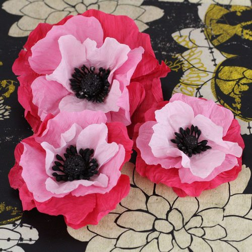 Prima - Poppies and Peonies Collection - Donna Downey - Flower Embellishments - Pink