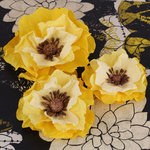 Prima - Poppies and Peonies Collection - Donna Downey - Flower Embellishments - Yellow