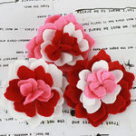 Prima - Poppies and Peonies Collection - Donna Downey - Felt Flower Embellishments - Red