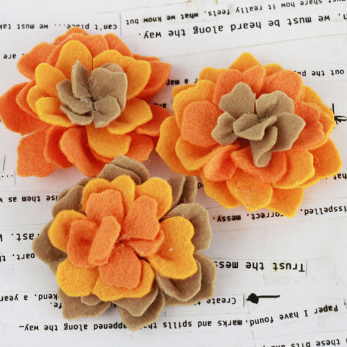 Prima - Poppies and Peonies Collection - Donna Downey - Felt Flower Embellishments - Orange