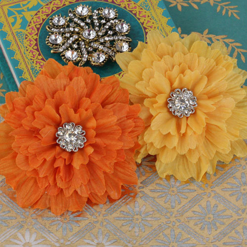 Prima - Poppies and Peonies Collection - Donna Downey - Flower Embellishments - Yellow and Orange