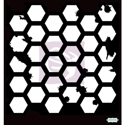 Prima - Poppies and Peonies Collection - Donna Downey - Stencils Mask Set - 6 x 6 - Hexagon Grunge