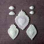 Prima - Archival Cast Collection - Relics and Artifacts - Plaster Embellishments - Flaming Hearts Ex Votos I
