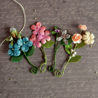 Prima - Relics and Artifacts - Flower Embellishments - Tangerine Berry Blossoms