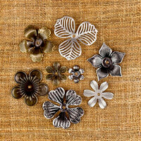 Prima - Sunrise Sunset Collection - Mechanicals - Vintage Trinkets - Metal Embellishments - Mini Flowers