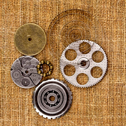 Prima - Sunrise Sunset Collection - Mechanicals - Vintage Trinkets - Metal Embellishments - Washers - Two