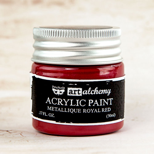Prima - Finnabair - Art Alchemy - Acrylic Paint - Metallique Royal Red