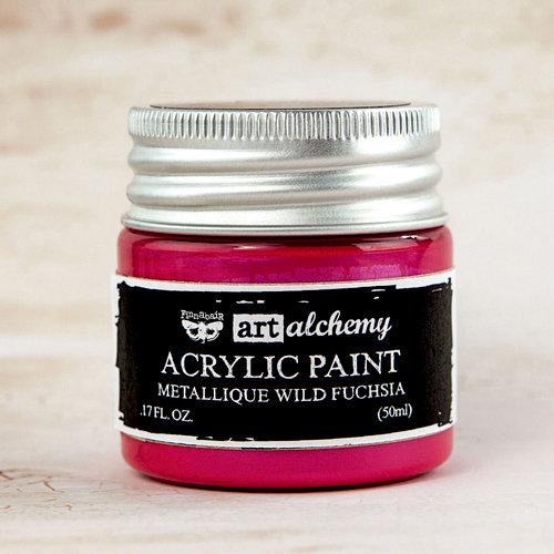 Prima - Finnabair - Art Alchemy - Acrylic Paint - Metallique - Wild Fuchsia