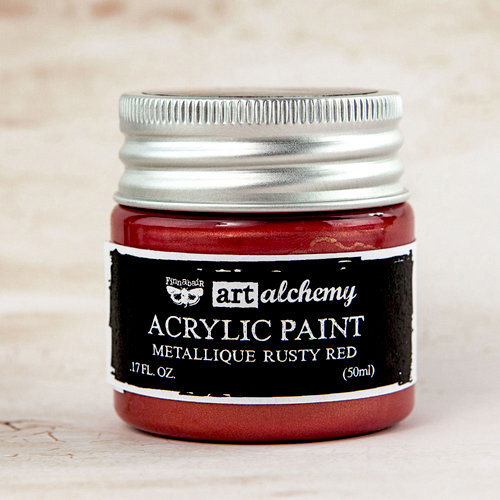 Prima - Finnabair - Art Alchemy - Acrylic Paint - Metallique - Rusty Red