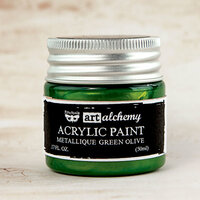 Prima - Finnabair - Art Alchemy - Acrylic Paint - Metallique - Green Olive