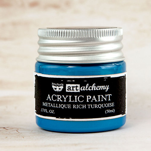 Prima - Finnabair - Art Alchemy - Acrylic Paint - Metallique - Rich Turquoise