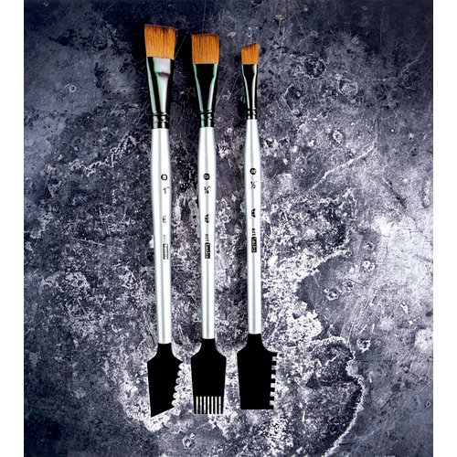 Prima - Finnabair - Art Basics - Double Sided Texture Brushes - Set 1 - 3 Pieces