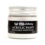 Prima - Finnabair - Art Alchemy - Acrylic Paint - Metallique - White Pearl