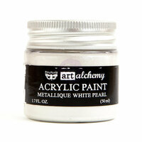 Prima - Finnabair - Art Alchemy - Acrylic Paint - Metallique - White Pearl