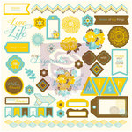 Prima - Wishes and Dreams Collection - 12 x 12 Self Adhesive Chipboard Pieces
