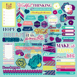 Prima - Wishful Thinking Collection - 12 x 12 Self Adhesive Chipboard Pieces