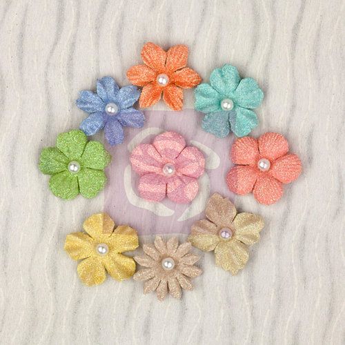 Prima - Pocket Book Pad Collection - Flower Embellishments - Multi-Pack
