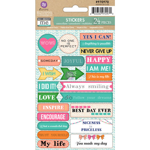 Prima - Leeza Gibbons - All About Me Collection - Cardstock Stickers - Words