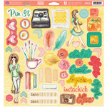 Prima - Bloom Collection - Bloom Girl - 12 x 12 Self Adhesive Chipboard Pieces