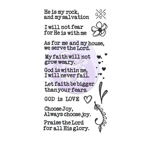 Prima - Creating In Faith Collection - Cling Mounted Stamps - Phrases