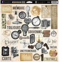 Prima - Cartographer Collection - 12 x 12 Self Adhesive Chipboard Pieces