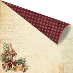 Prima - A Victorian Christmas Collection - 12 x 12 Double Sided Paper with Gold Foil Accents - Pere Noel