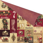 Prima - A Victorian Christmas Collection - 12 x 12 Double Sided Paper with Gold Foil Accents - Un Calendrier de L Avent