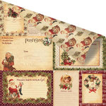 Prima - A Victorian Christmas Collection - 12 x 12 Double Sided Paper with Gold Foil Accents - Le Jour de Noel