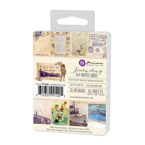 Prima - French Riviera Collection - 3 x 4 Journaling Cards