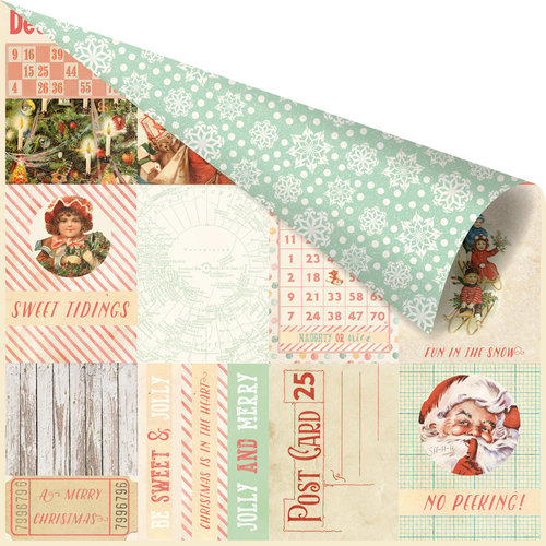 Prima - Sweet Peppermint Collection - Christmas - 12 x 12 Double Sided Paper with Foil Accents - Oh So Merry