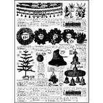 Prima - Sweet Peppermint Collection - Christmas - Clear Acrylic Stamps - Newspaper