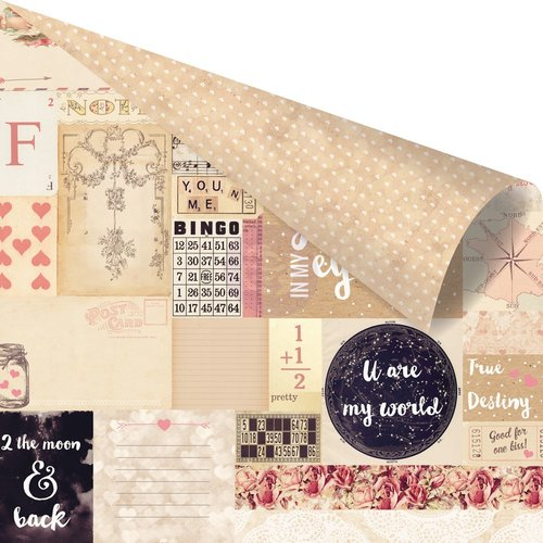 Prima - Love Clippings Collection - 12 x 12 Double Sided Paper - 2 the Moon and Back with Rose Gold Foil Accents