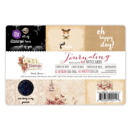 Prima - Love Clippings Collection - 4 x 6 Journaling Cards