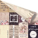 Prima - Wild and Free Collection - 12 x 12 Double Sided Paper - Pretty Little Notes with Rose Gold Foil Accents