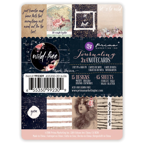 Prima - Wild and Free Collection - 3 x 4 Journaling Cards