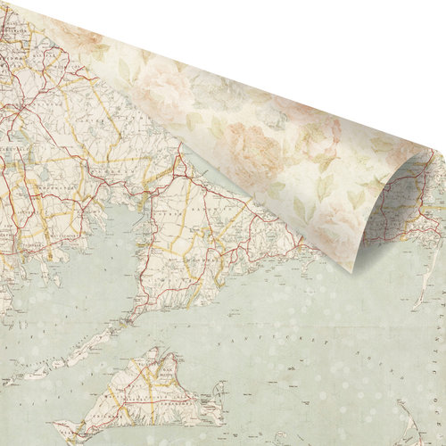 Prima - St. Tropez Collection - 12 x 12 Double Sided Paper - French Sands with Foil Accents