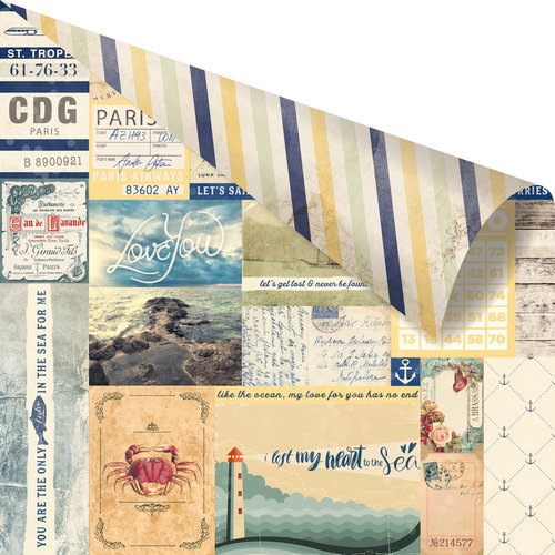 Prima - St. Tropez Collection - 12 x 12 Double Sided Paper - Pampelonne with Foil Accents