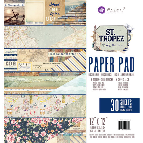 Prima - St. Tropez Collection - 12 x 12 Paper Pad