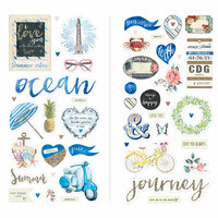 Prima - St. Tropez Collection - Chipboard Stickers and More with Glitter and Foil Accents
