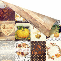 Prima - Amber Moon Collection - 12 x 12 Double Sided Paper - Pumpkin Season with Foil Accents