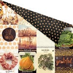 Prima - Amber Moon Collection - 12 x 12 Double Sided Paper - Pumpkin Love with Foil Accents